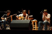 With Dustin and Kevin Welch at the Woody Guthrie Festival, 2011