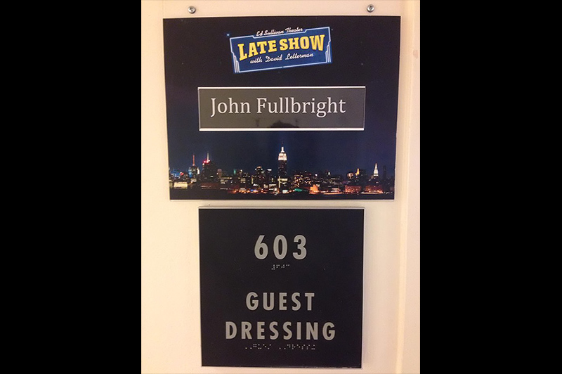 Dressing room door.